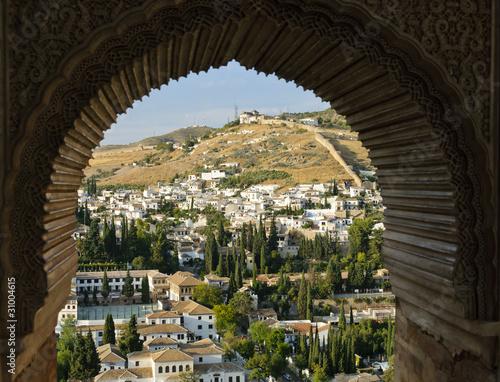 Fototapeta Widok z okna na Albaicin, arabska dzielnica Granady do pokoju