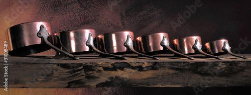 Antique copper pans lined #31008489