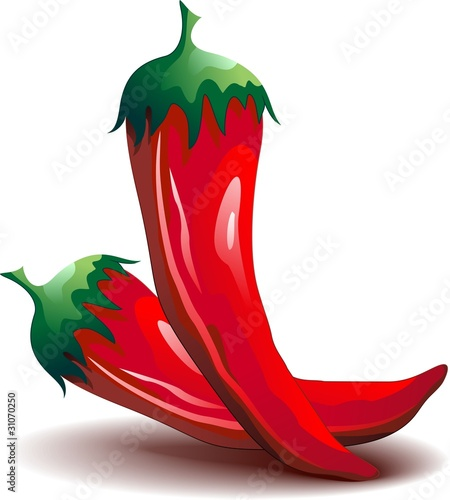 Photo Peperoncino Rosso Piccante -Red Hot Chili Pepper-Vector