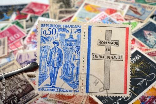 Canvas Print timbres - Hommage au Général De Gaulle Brazzaville 1944 - philatélie France
