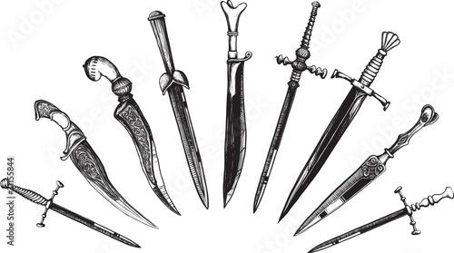 Fotografering Set of Oriental and European Daggers