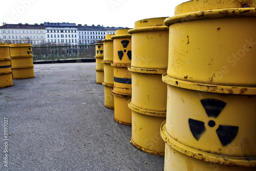 Rusty and old barrel with radioactive waste