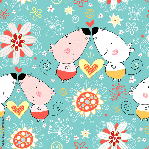 floral pattern with lovers mice