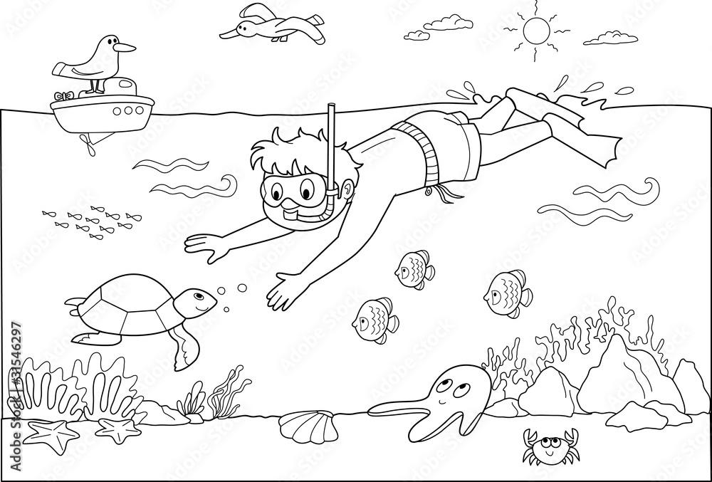 Dziecko pływanie pod wodą z ryb. <span>plik: #31546297   autor: carlafcastagno</span>