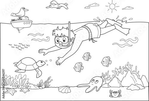 Dziecko pływanie pod wodą z ryb.