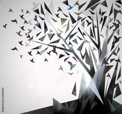 Obraz premium Abstrakcjonistyczny drzewo z origami ptakami.