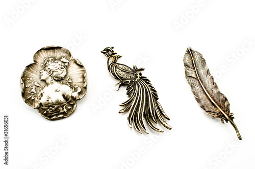 Canvas Three antique silver brooches