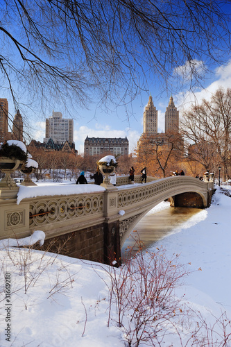 Photographie New York City Manhattan Central Park panorama in winter