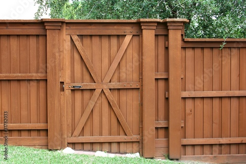 Door in a cedar fence Fototapet