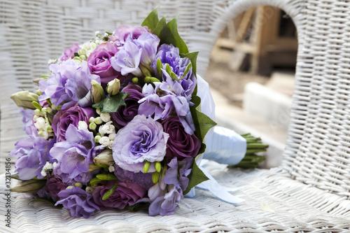 wedding bouquet at chair