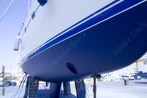 boat hull sailboat blue antifouling beached for paint