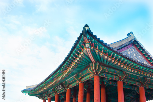 Korea  traditional multicolored paintwork on wooden buildings