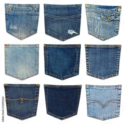 Canvas Print collection of different jeans pocket isolated on white.