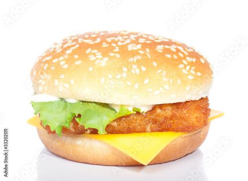 fishburger isolated on white