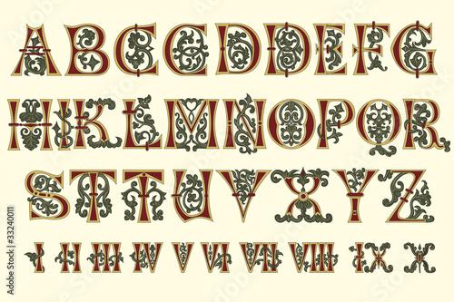 Fotografia Alphabet Medieval and Roman numerals of the eleventh century