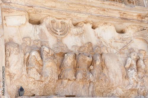 Obraz na płótnie Detail of the Arch of Titus, The menorah