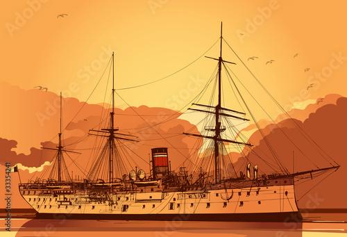Wallpaper Mural Old  battleship