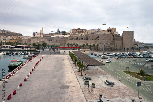 Harbor and castle in Melilla, Spain, Africa