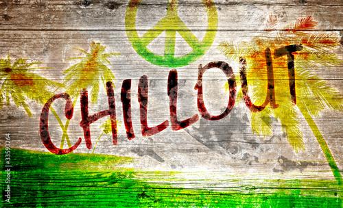 Fototapeta premium Chillout grafitti na starej drewnianej desce