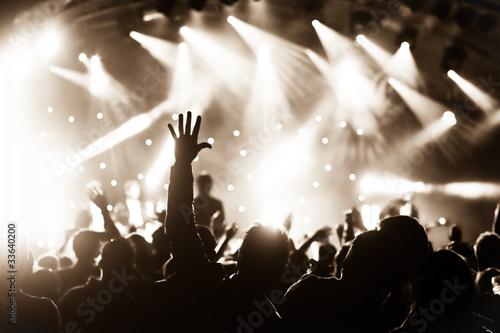 Obraz na płótnie hands raised by the crowd at a live music concert