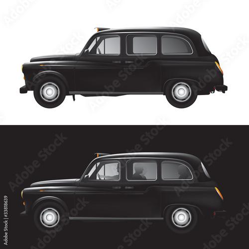 Photo London symbol -  black cab - isolated - businessman - bankers