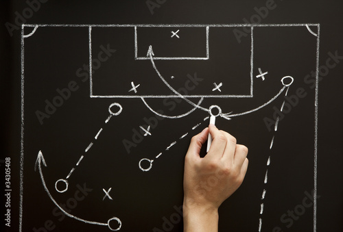 Coach drawing a soccer football game strategy in the locker room