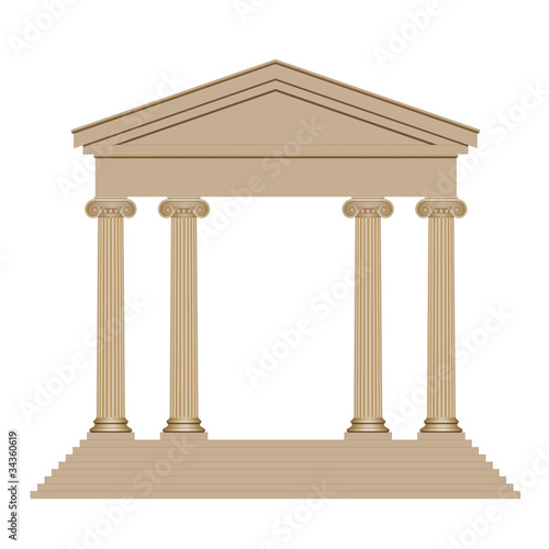 Temple avec quatre colonnes Fotobehang