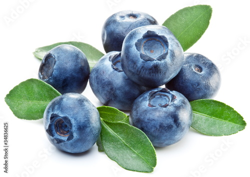 Fotografering Blueberries with leaves