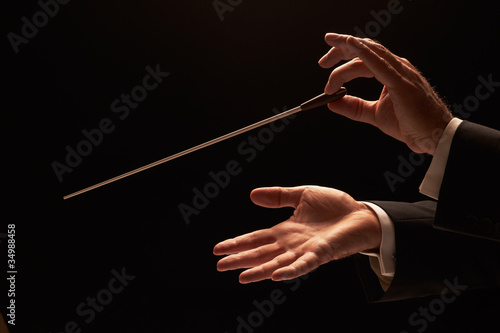 Stampa su Tela Conductor conducting an orchestra