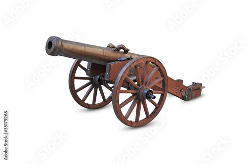 Carta da parati Ancient cannon on wheels isolated on white background