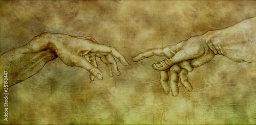 Canvastavla After Michelangelo - Adam and God