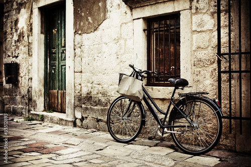 Bicycle with a shopping bag