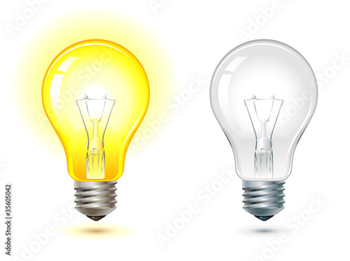 glowing and turned off light bulb Fototapet