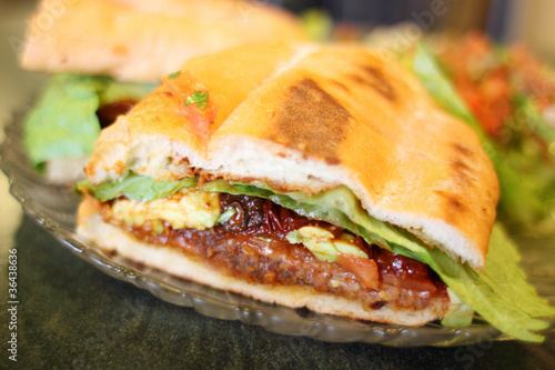 Canvas Print Torta Milanese or Mexican style sandwich at a local restaurant.