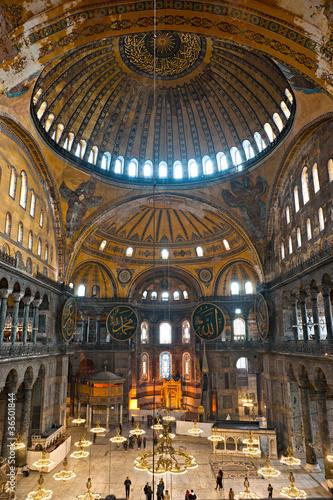 Fotografie, Obraz The beautiful decorated cupola of Hagia Sophia mosque, Istanbul,