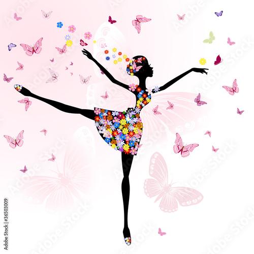 Fototapeta premium baleriny dziewczyna z kwiatami z motylami