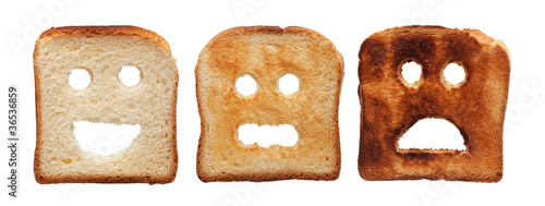 Toast bread differently burned