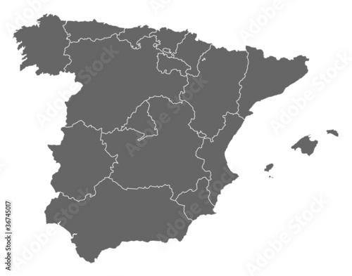 Canvas Print Map of Spain