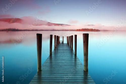 Ashness Pier.  The pier is a landing stage on the banks of Derwentwater, Cumbria in the English Lake District national park.