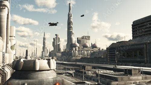 Futuristic sci-fi city street view