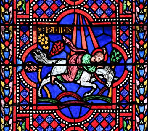 Fotografie, Obraz Saint Paul the Apostle. Stained glass window