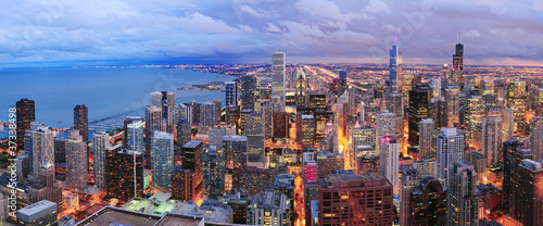 Fototapeta premium Chicago panoramę panoramy widok z lotu ptaka
