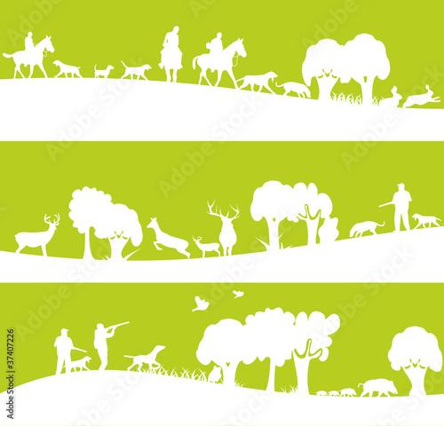 Slika na platnu chasse et chasseurs sur bannière verte