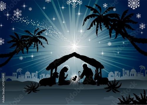Holy Family in Bethlehem silhouette #37433419