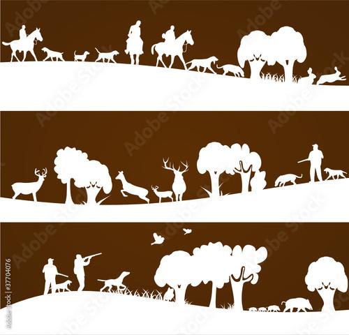 chasse et chasseurs sur bannière marron Fototapeta