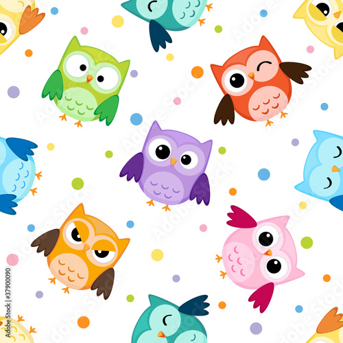 Seamless pattern with colorful owls