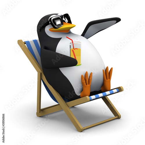 Photo 3d Penguins waves from his deckchair