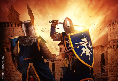 Fotomural Two knights fighting agaist medieval castle.