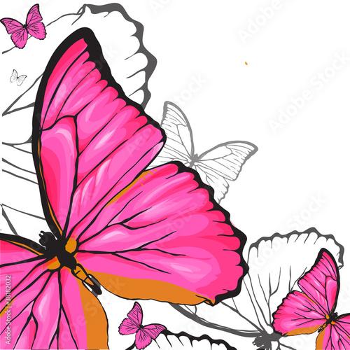 Fototapeta Pink buterflies background