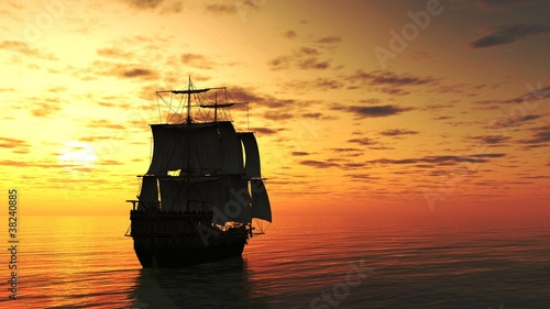 Valokuva Sailing Ship Silhouetted at Sunset
